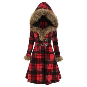 NWT Red Plaid Faux-Fur Trimmed Hood Fit-Flare Coat